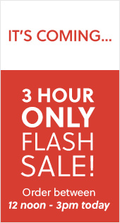 It's Coming... 3 Hour Flash Sale between 12 noon and 3pm today!