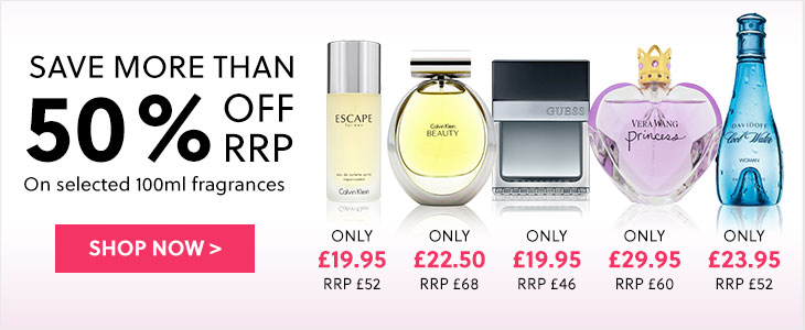 Save More Than 50% Off RRP On Selected 100ml Fragrances