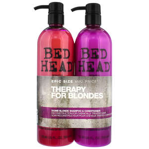 TIGI Bed Head Dumb Blonde Dumb Blonde Tween Set - Shampoo 750ml & Reconstructor 750ml