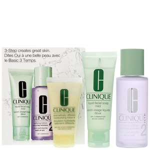 Clinique Gifts & Sets 3 Step Skincare Set Type 2 Dry Combination Skin - Liquid Facial Soap Mild 50ml, Clarifying Lotion 100ml &  Dramatically Different Moisturizing Lotion 30ml