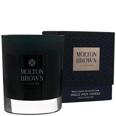 Molton Brown Black Leather Accord & Cade Single Wick Candle 180g